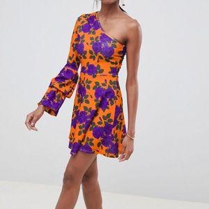 ASOS DESIGN one shoulder floral dress